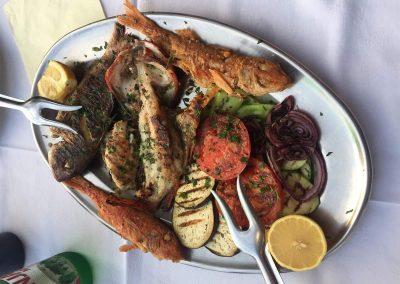 20.05.17 | Nicht schlecht - Fischplättchen in einem Restaurant in Bigovo